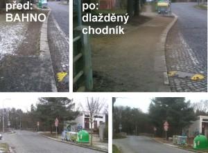 Chybějící chodník pod Mateřskou školou Naskové (stav 2011) a nový chodník (2013).